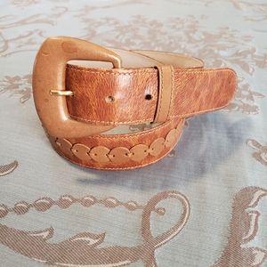 Escada Tan Leather Animal Print Belt